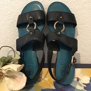 Tory Burch Navy Blue turquoise blue leather Sandal